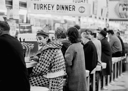 Thomas Hoepker, A Clown at a Lunch Corner, Reno, Nevada, 1963