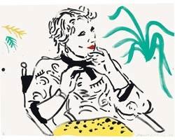 Celia with Green Plant von David Hockney