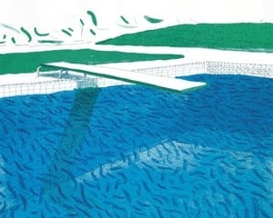 Lithographic Water Made of Lines, Crayon, and Two Blue Washes von David Hockney