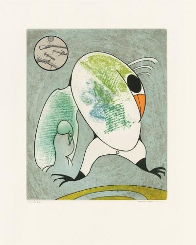 """Devant mon aile droite couve le morne militaire, from """"Oiseaux en péril"""" von Max Ernst"""