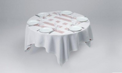Unique Tablecloth with Laser-Cut Lace von Daniel Buren