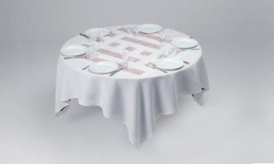 Daniel Buren, Unique Tablecloth with Laser-Cut Lace, 2002