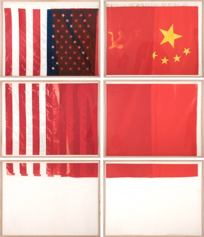 Vito Acconci, Three Flags for One Space and Six Regions, 1979