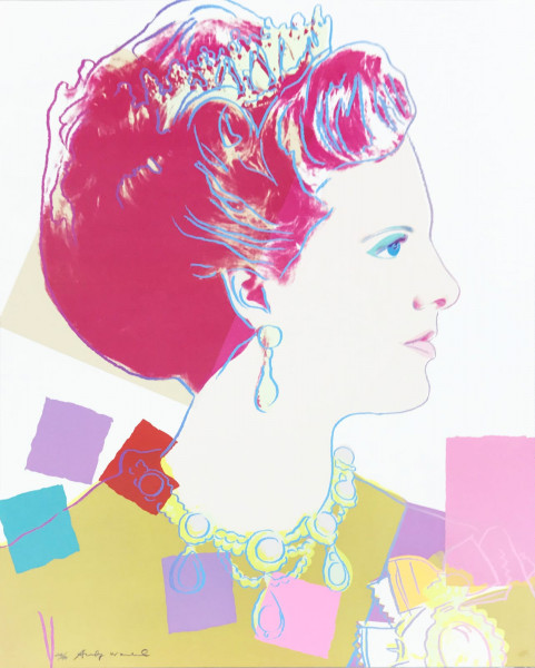 """Andy Warhol, Queen Margrethe II of Denmark (FS II.344), from the Portfolio """"Reigning Queens"""", 1985"""