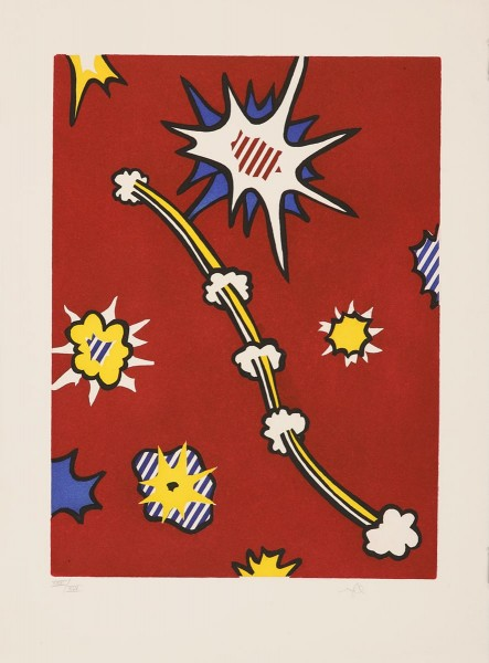 "Roy Lichtenstein, Illustration for ""De Denver au Montana, Départ 27 Mai 1972 (II)"" from ""La Nouvelle Chute de l'Amérique"" (The New Fall of America), 1992"