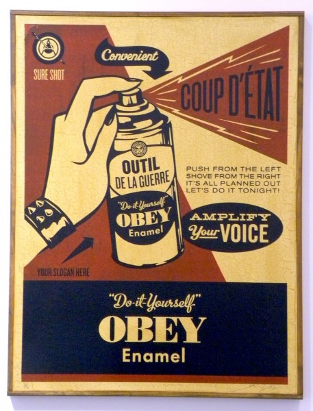 Shepard Fairey, Obey Coup D'Etat (on wood), 2003