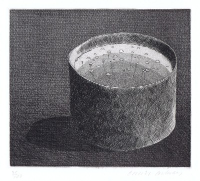 "The Pot Boiling (aus ""Illustrations for Six Fairy Tales from the Brothers Grimm"") von David Hockney"