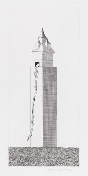 David Hockney, The Tower Had One Window (Rapunzel), 1969