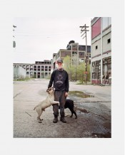man with dog, Detroit, from DownTown - Detroit