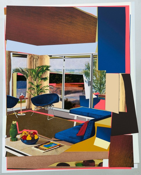 Mickalene Thomas, Interior: Blue Couch and Green Owl, 2016