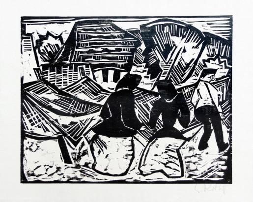 Karl Schmidt-Rottluff, By the Nets   Bei den Netzen, 1917
