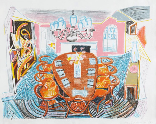 David Hockney, Tyler Dining Room, from Moving Focus, 1985