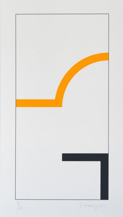 Sans Titre (Noir/Orange) von Gottfried Honegger