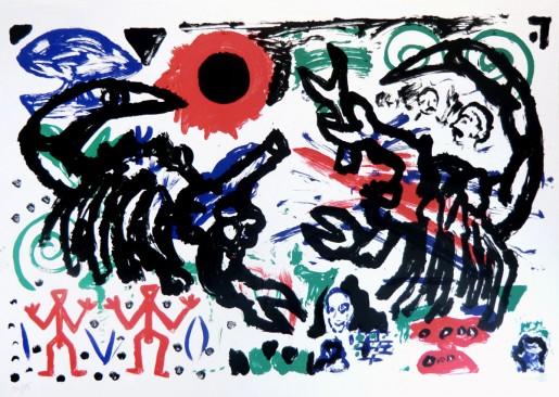 A.R. Penck, Kämpfende Skorpione, 1987