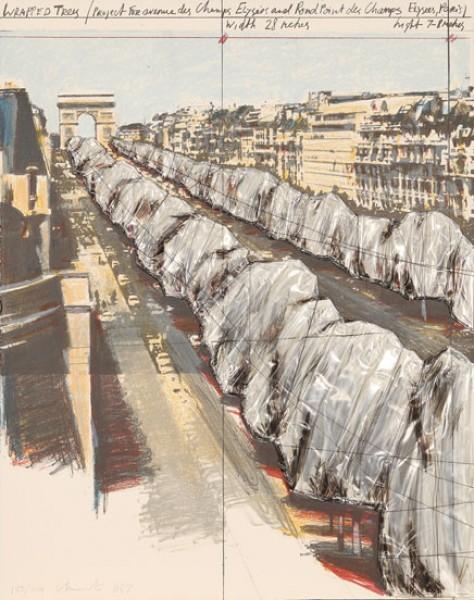Christo & Jeanne-Claude, Wrapped Trees (Project for the Avenue des Champs-Elysées, Paris), 1987
