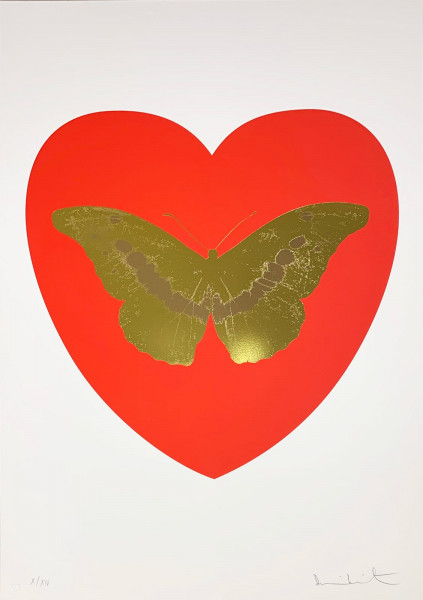 Damien Hirst, I Love You - Red/Oriental Gold/Cool Gold, 2015