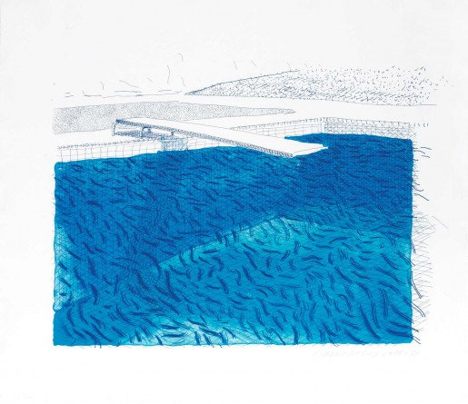 David Hockney, Lithograph of Water Made of Lines, Crayon, and Two Blue Washes Without Green Wash, 1978/1980