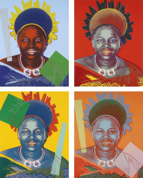 "Andy Warhol, Queen Ntombi Twala of Swaziland (FS II.346-349), from the Portfolio ""Reigning Queens"", 1985"