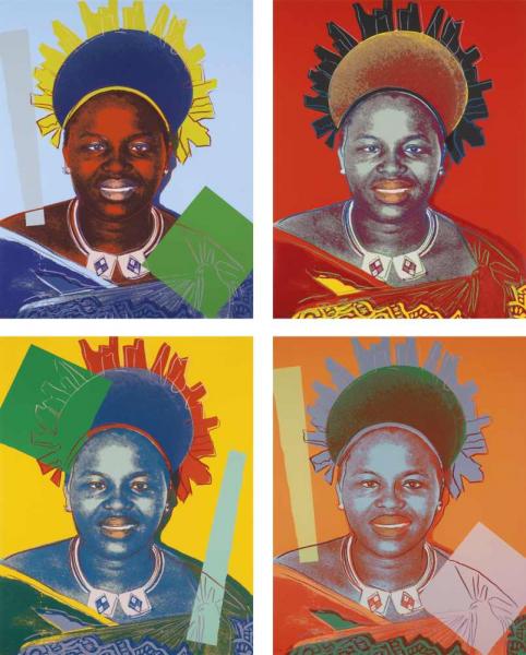 "Andy Warhol, Queen Ntombi Twala of Swaziland (FS II.346-349), from the Portfolio ""Reigning Queens"", 1985"
