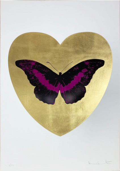 Damien Hirst, I Love You - Gold Leaf/Black/Fuchsia, 2015
