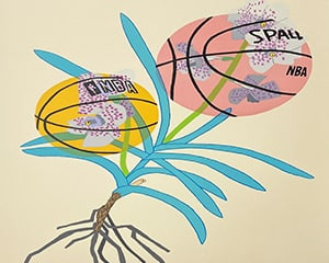 Double Basketball Orchid 2 (State I) von Jonas Wood