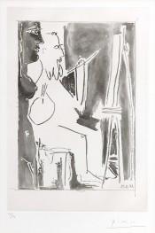 Peintre à chevalet et femme nue debout