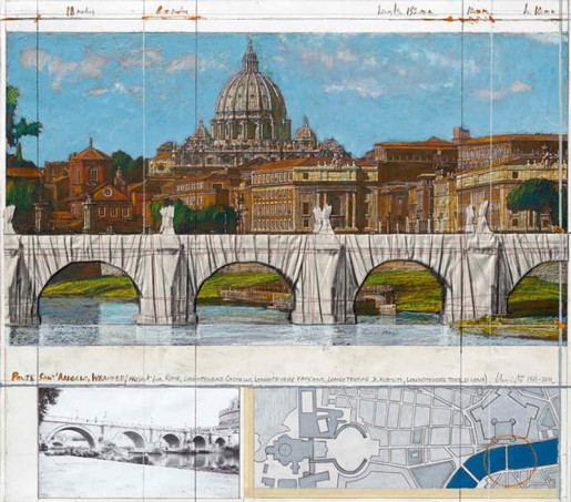 Christo, Ponte Sant' Angelo wrapped (project for Rome), 2011