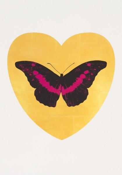 Damien Hirst, I Love You - gold leaf, black, fuchsia, 2015