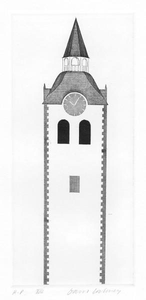 David Hockney, The Church Tower and Clock (Fundevogel), 1969