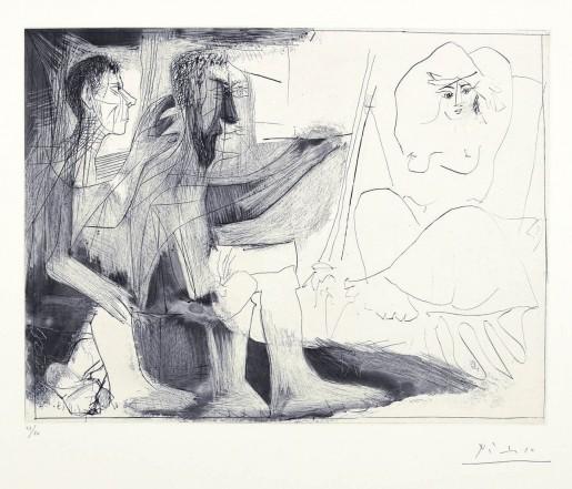 Pablo Picasso, Peintre au travail (Peintre barbu avec modèle nu et un spectateur) 1 novembre, 1963
