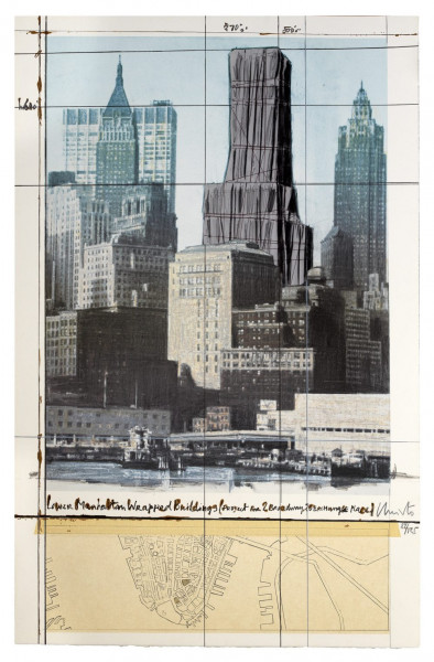 Christo & Jeanne-Claude, Lower Manhattan Wrapped Buildings, Project for 2 Broadway, 20 Exchange Place, 1990