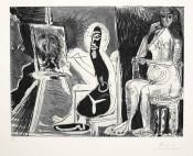 Dans l'Atelier (Peintre avec le portrait d'un jeune garçon, dans son atelier)