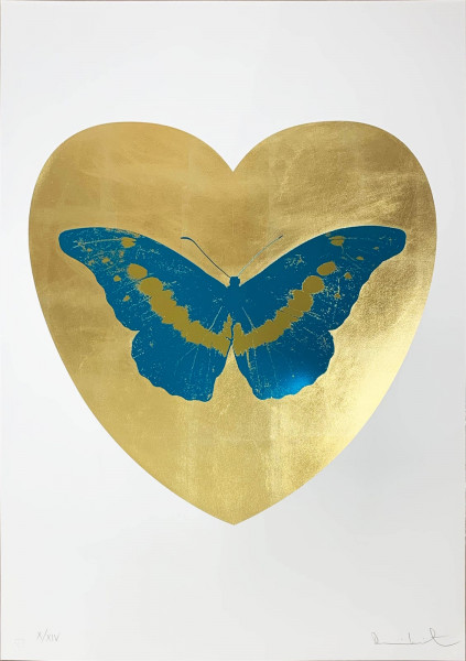 Damien Hirst, I Love You - Gold Leaf/Turquoise/Oriental Gold, 2015
