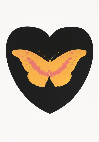 Damien Hirst, I Love You - black, cool gold, loganberry, 2015