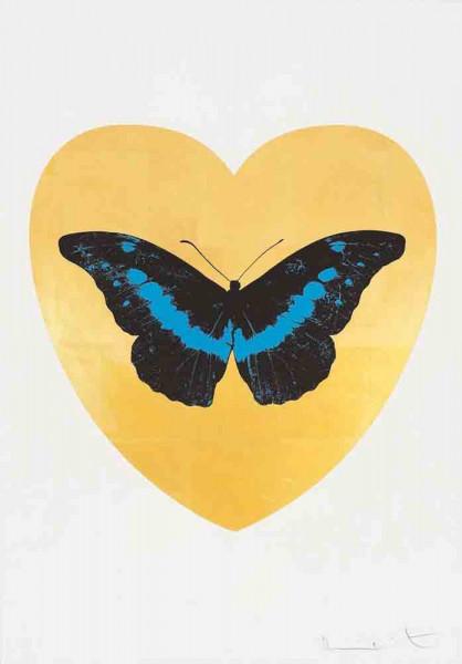 Damien Hirst, I Love You - Gold Leaf/Black/Turquoise, 2015