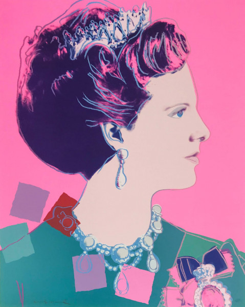"""Andy Warhol, Queen Margrethe II of Denmark (FS IIA.345), from the Portfolio """"Reigning Queens (Royal Edition)"""", 1985"""