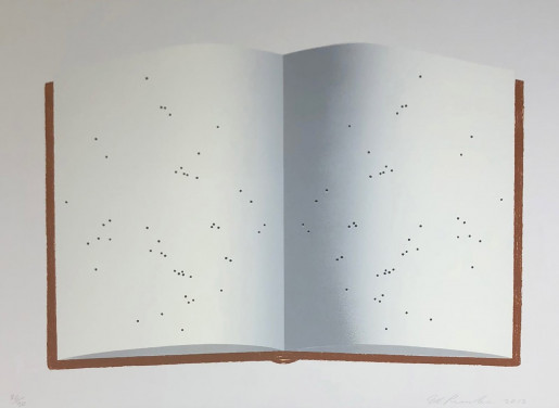 Ed Ruscha, Open Book With Worm Holes, 2012