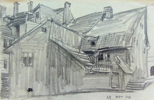 Lyonel Feininger, Hinterhof in oder um Weimar (Backyard in or near Weimar), 1906