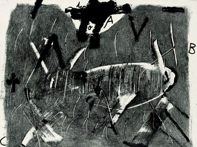 Lletres i gris von Antoni Tàpies