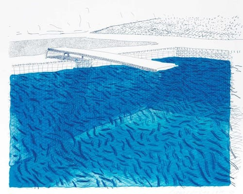 Lithograph of Water Made of Lines, Crayon, and Two Blue Washes Without Green Wash von David Hockney