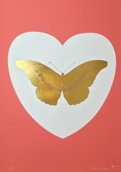 Damien Hirst, I Love You - white, coral, oriental gold, cool gold, 2015