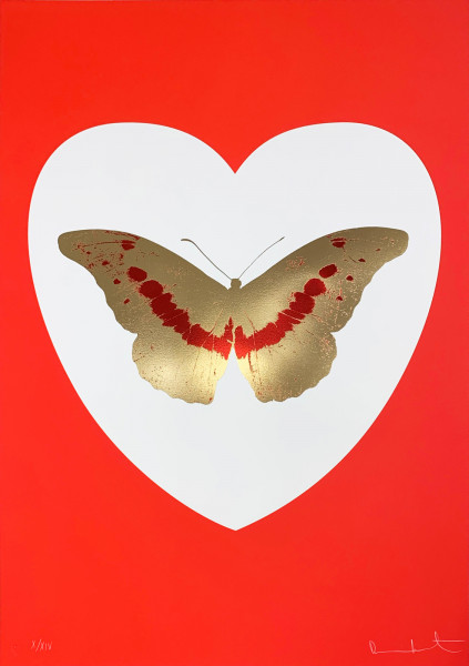 Damien Hirst, I Love You - White/Red/Cool Gold/Poppy Red, 2015