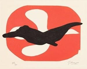 Oiseau blanc et oiseau noir sur fond rouge von Georges Braque