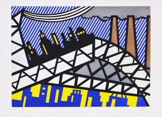 Roy Lichtenstein, Illustration for 'Bayonne en Entrant dans NYC', from La Nouvelle Chute de l'Amérique, 1992