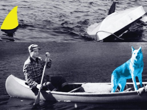 John Baldessari, Man, Dog (Blue), Canoe/Shark Fins (One Yellow), Capsized Boat, 2002