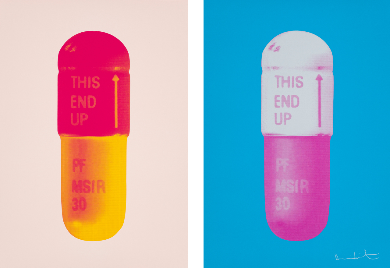 Links: Damien Hirst, The Cure - Powder Pink/Lollypop Red/Golden Yellow, 2014, Siebdruck. Rechts: Damien Hirst, The Cure - Vivid Blue/Cloudy Pink/Candy Floss Pink, 2015, Siebdruck