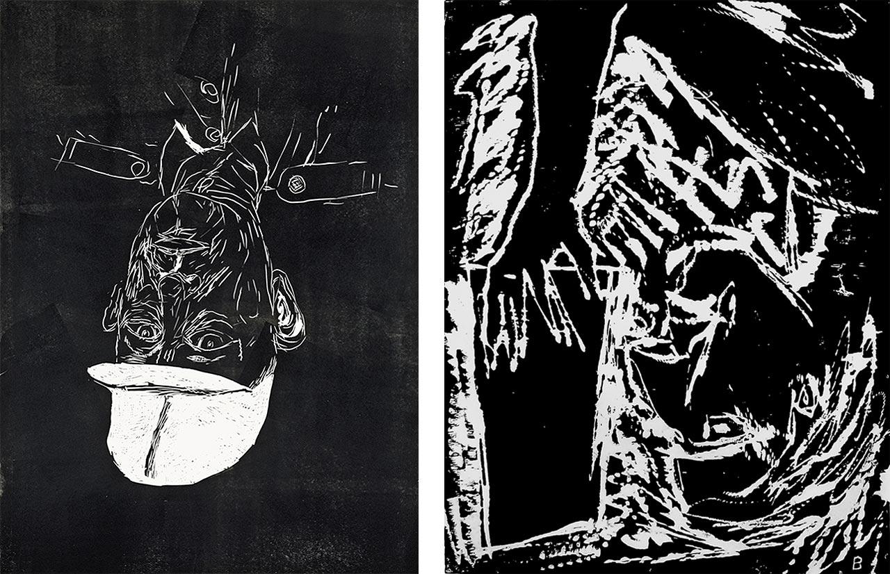 Georg Baselitz, Meine neue Mütze, 2002, und Georg Baselitz, Lesender Mann, 1982